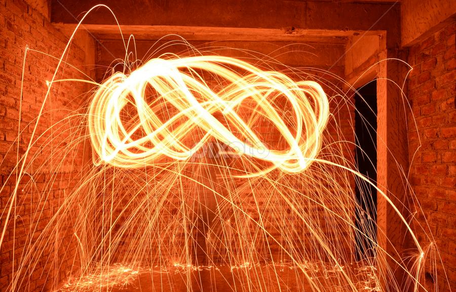 Swing SpaRk by प्रसाद जोशी - Abstract Light Painting ( steel wool, slow motion, swing, light, fire )