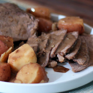 Crockpot Pot Roast with Gravy and Potatoes.