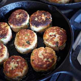 Potato-and-Wild-Salmon Cakes with Ginger and Scallions.