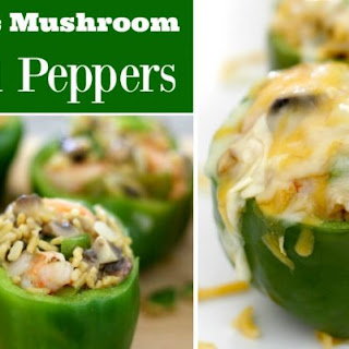 Shrimp Stuffed Peppers With Mushrooms And Rice.