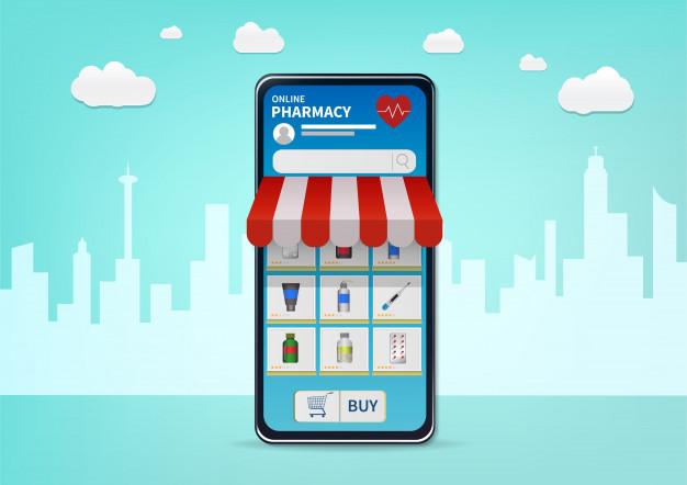 A imagem mostra um celular com um aplicativo de farmácia e um toldo de porta saindo da tela. Representa um ponto comercial para farmácia online.