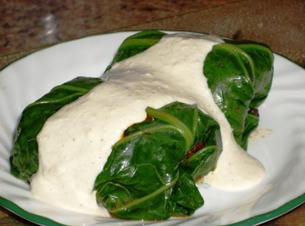 Calamari Collard Bundles With Cashew Cream Goat Cheese Sauce Recipe
