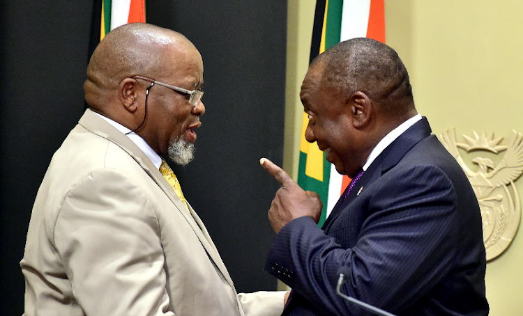 Gwede Mantashe and Cyril Ramaphosa. Picture: GCIS