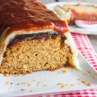 Caramelized Quince Cake with Vanilla Frosting and Caramel.