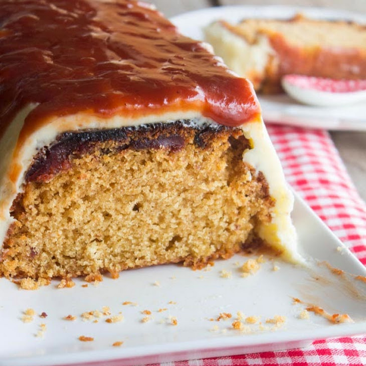 Caramelized Quince Cake with Vanilla Frosting and Caramel