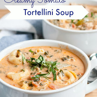 Creamy Chicken Sausage, Tomato, and Tortellini Soup.