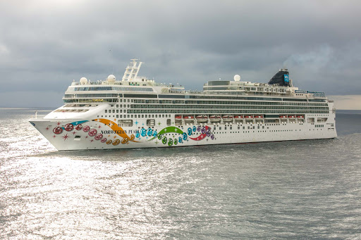 Norwegian Pearl approaches the port of Costa Maya in Mexico.