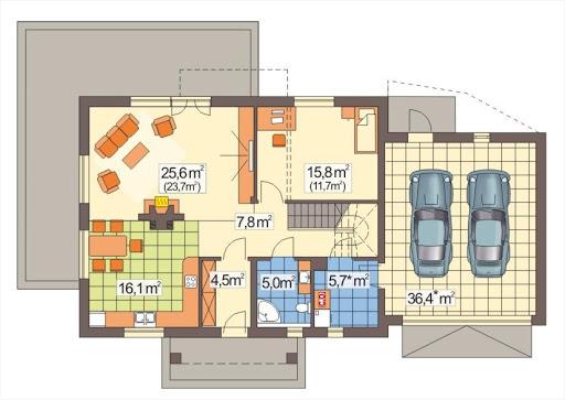 Adaś wersja C z podwójnym garażem - Rzut parteru
