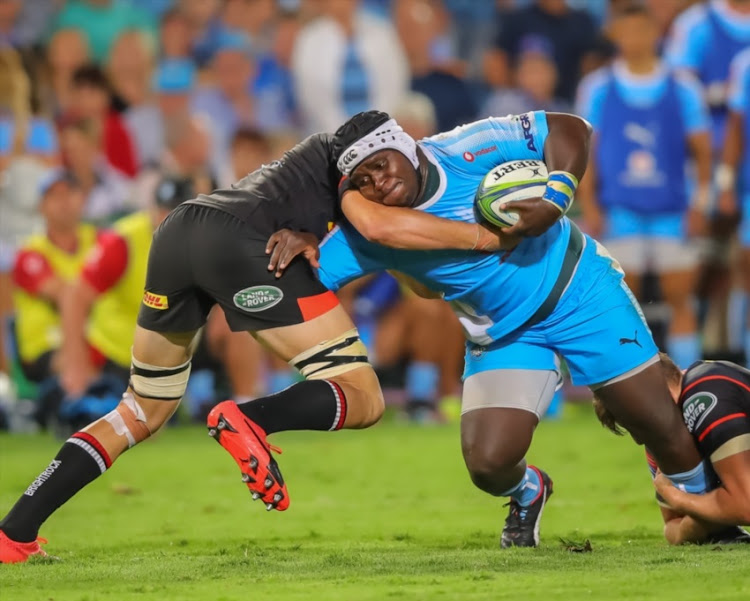A determined Trevor Nyakane of the Vodacom Bulls during the Super Rugby match between Vodacom Bulls and DHL Stormers at Loftus Versfeld on March 31, 2018 in Pretoria, South Africa.