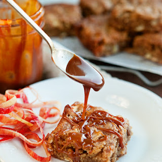 Cinnamon Apple Blondies with Caramel Sauce