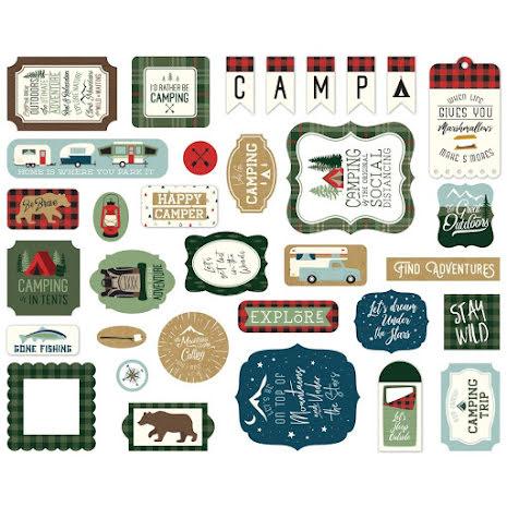 Echo Park Lets Go Camping Cardstock Die-Cuts 33/Pkg - Ephemera