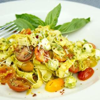 Crepe Fettuccine with Tomatoes, Fresh Mozzarella and Pesto