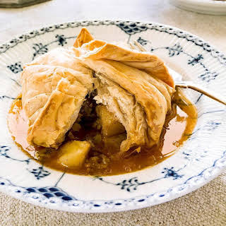 Phyllo-Wrapped Apple Dumplings with Apple Cider Sauce.