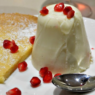 Cranberry Jelly, Yoghurt Pannacotta and Almond Tart Dessert.