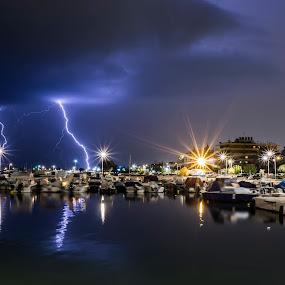 Thundery night by Zisimos Zizos - Landscapes Cloud Formations ( stormy, thunder, weather, nightphotography, storm, thunders, longexposure, rain )