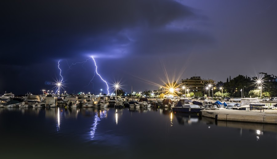 Thundery night by Zisimos Zizos - Landscapes Cloud Formations ( stormy, thunder, weather, nightphotography, storm, thunders, longexposure, rain )
