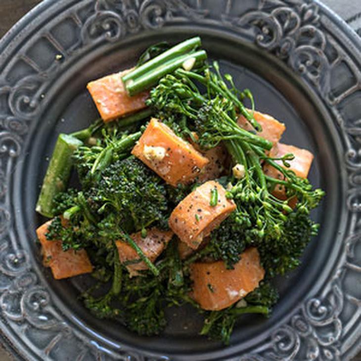 Sweet Potato Broccoli Salad with Garlic-Ginger Tahini Sauce Recipe