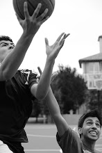Photo: Requirement 1  Couple freshmen were playing basketball and welcomed the 15 minutes of fame.   Took with a high shutter speed and wide aperture to capture the action and keep only main subjects in focus.
