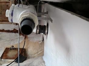 Photo: deck scupper & bilge pump drain manifold viewed from port side.