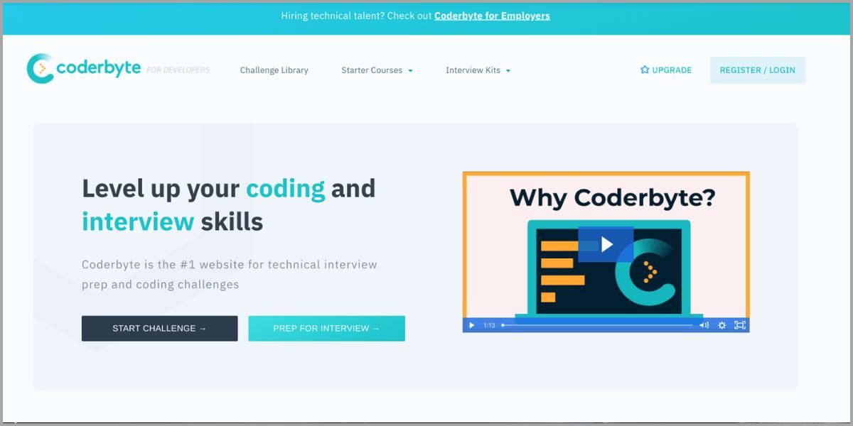 coderbyte homepage
