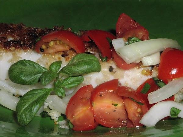Panko-crusted Fish With Tomato-basil Relish Recipe
