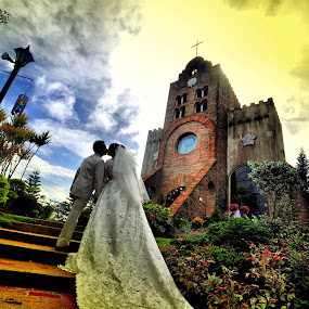 FROM HERE TO ETERNITY by Leon Zaragoza - Wedding Bride & Groom ( fashion, churches, landscape, people )