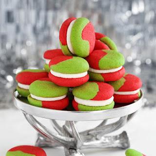 Green & Red Cream Cheese Sugar Cookie Sandwiches.