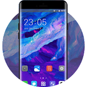 Theme for ice frost blue purple neon wallpaper icon