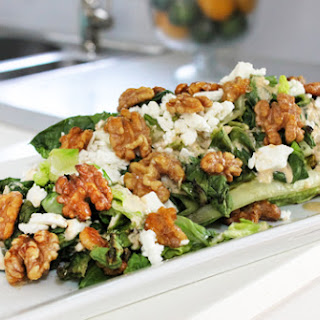 Grilled Romaine Salad with Smoky Tomato Dressing, Feta and Candied Walnuts