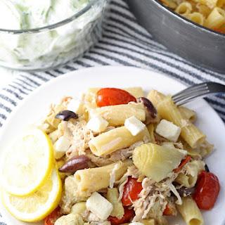 One Pot Mediterranean Chicken Feta Pasta.