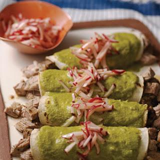Pork Tenderloin Enchiladas with Mole Verde.