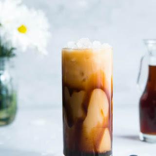 Homemade Caramel Vanilla Iced Coffee.