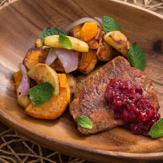 Spiced Salmon & Homemade Cranberry Chutney with Parsnip, Sweet Potato & Clementine Sauté