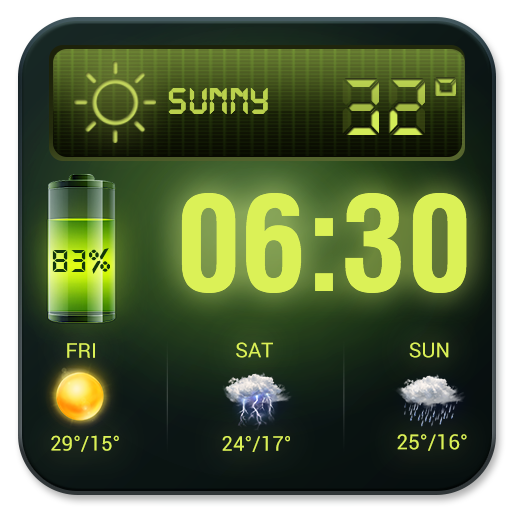 Weather Forecast Widget with Battery and Clock