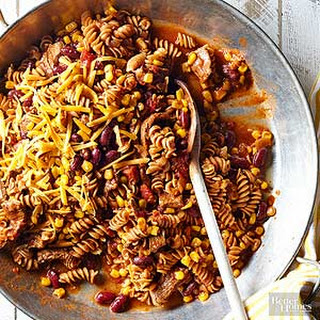 Rotini with Beef and Beans.