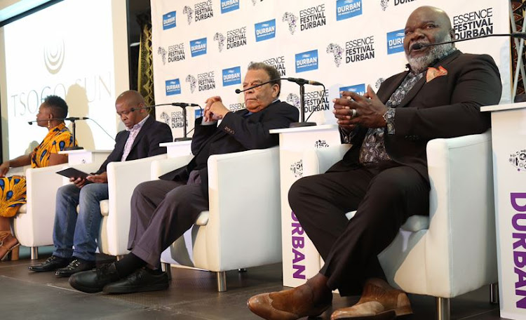 Vanessa de Luca, Phillip Sithole, Andrew Young and TD Jakes at a press conference at the Essence festival.