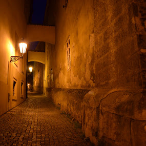 evening in old Prague by Roseann Jech - City,  Street & Park  Historic Districts ( thunovska, street lamps, street, night, evening, prague )