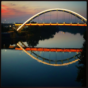 Cumberland River, Nashville Tennessee by Mary Phelps - Buildings & Architecture Bridges & Suspended Structures ( sunrise, nashville, tennessee, reflection, river, bridge, cumberland,  )