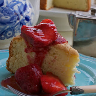 Genoise with Strawberry Ice Wine Sauce.