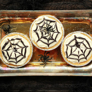 No-Bake Spiderweb Cheesecakes