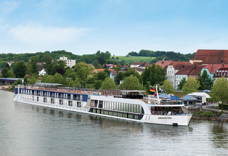 The river ship AmaKristina in Vilshofen in the Passau district of Germany.
