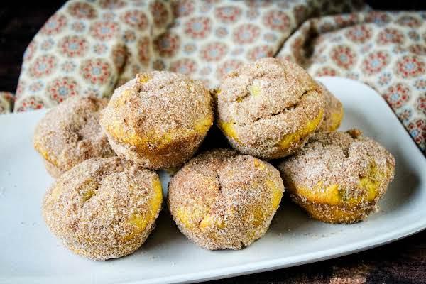 A Platter Of Pumpkin Spice Doughnut Muffins.