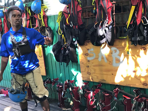 Getting-outfitted-for-zipline.jpg - Getting outfitted for a zipline tour in St. Kitts.