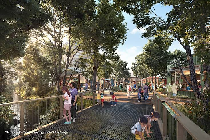 A rendering of proposed bridge crossing over Los Gatos Creek with people walking around with shops and Diridon Station in the distance