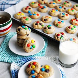 Chewy Peanut Butter Cookies with Chocolate M&M's.