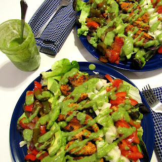 Fajita Chopped Salad with Avocado Cilantro Jalapeno Dressing