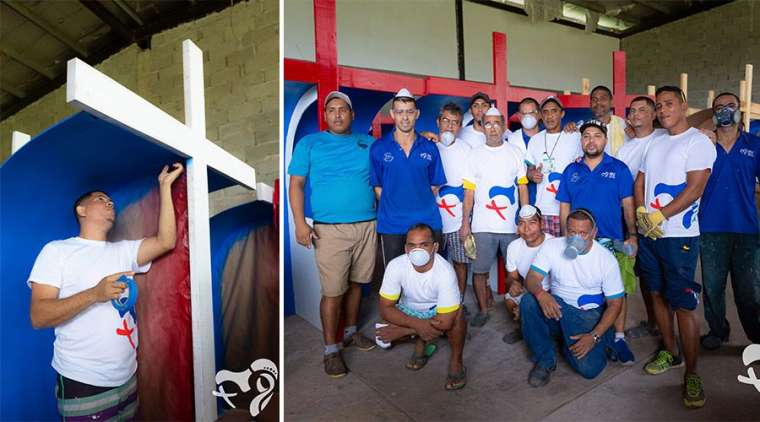 Inmates construct confessionals for the 2019 World Youth Day. Credit: World Youth Day 2019 Panama.