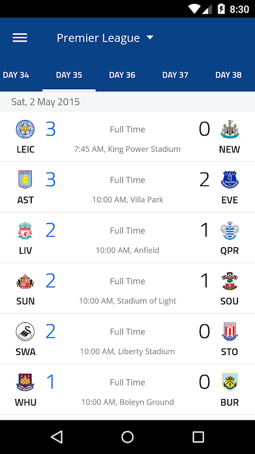 EPL 2015/2016- screenshot