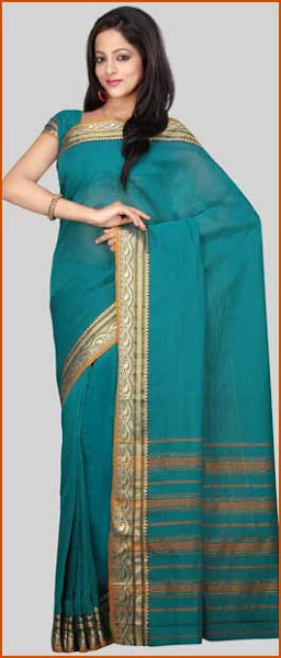 Photo: Turquoise Narayanpet Handloom Cotton Saree With Blouse  Itemcode: SSP18  Price: US$ 19.92  Click @ http://www.utsavfashion.com/store/sarees-large.aspx?icode=SSP18