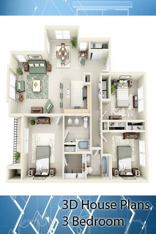 3D House Plans - 3 Bedroom- screenshot